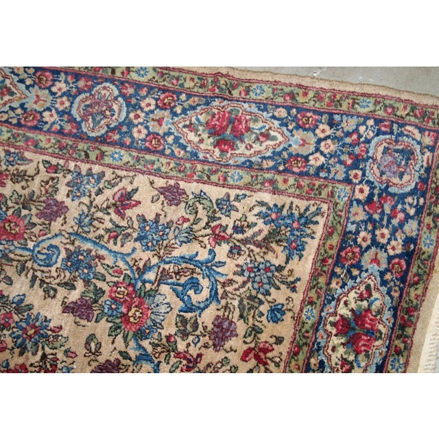 Traditional 1920s, Handmade Antique Persian Kerman Rug 4.2' For Sale - Image 3 of 11
