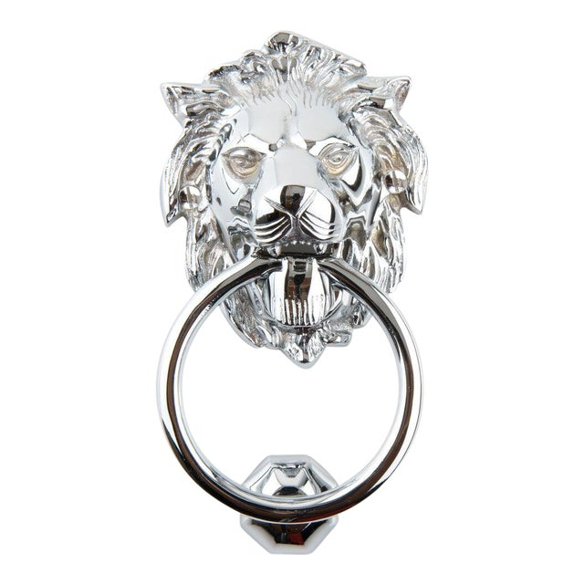 Art Deco Chrome Plated Solid Brass Lion Head Doorknocker With Striker