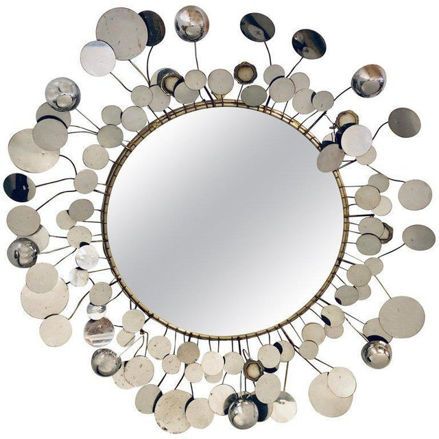 Mid-Century Modern Bamboo Form Frame Mirror with Floating Orbit Spheres For Sale - Image 12 of 12