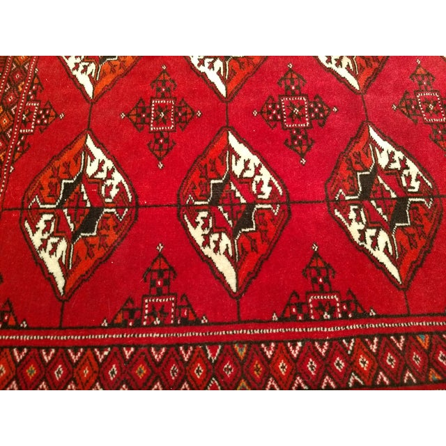"""1960s Turkman Tribal Red and Cream Wool Carpet 4' X 5' 5"""" For Sale - Image 4 of 8"""