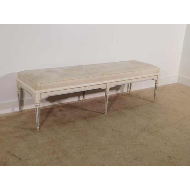 Baker Furniture Company French Louis XVI Upholstered End of Bed Bench. We have two of these - the other is posted...