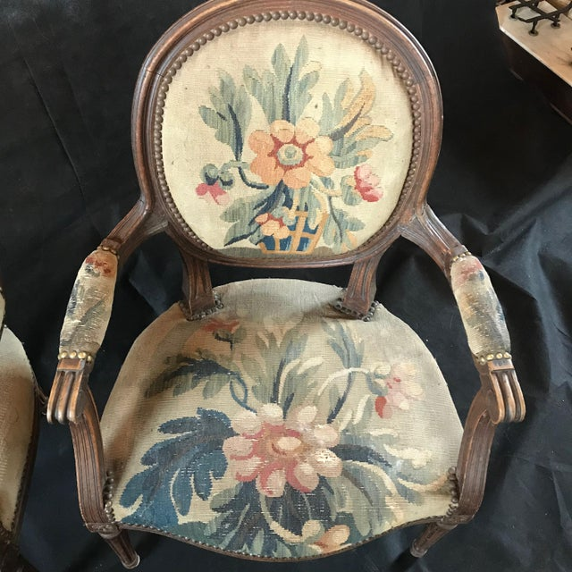 Early 19th Century Period French Walnut Louis XVI Antique Carved Tapestry Fauteuils - a Pair For Sale - Image 5 of 9