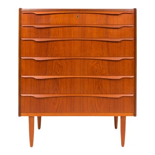 1960s Vintage Danish Mid-Century Teak Tallboy Dresser For Sale