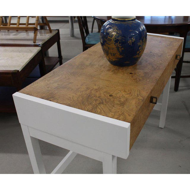 Small Mid-Century Modern burl wood desk writing hall table or console.