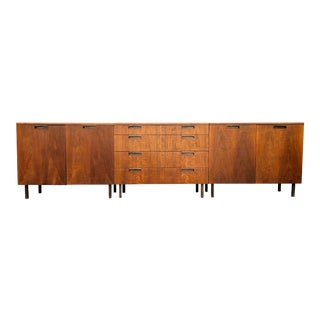 Set of Three Travertine Top Walnut Buffet Sideboard Cabinets by John Stuart - Mid Century Modern Danish Style Marble Top For Sale