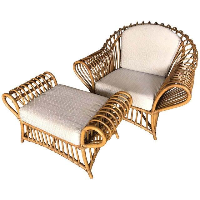 1980s Franco Albini Rattan Chair and Ottoman Set For Sale - Image 12 of 12