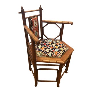 Pair of Hexagonal Faux Bamboo and Kilim Armchairs