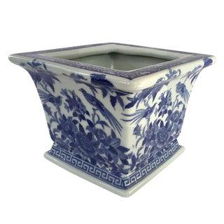 Blue & White Porcelain Bird Cachepot For Sale