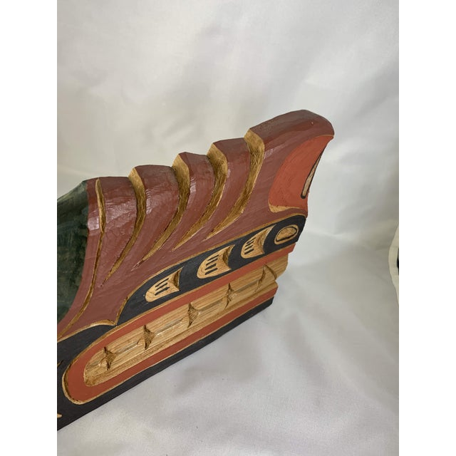 Cecil Dawson Native Northwest Grizzly Bear Painted Wood Carving, Signed For Sale - Image 9 of 13