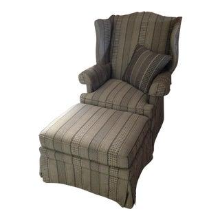 Custom Made Wingback Chair & Ottoman For Sale