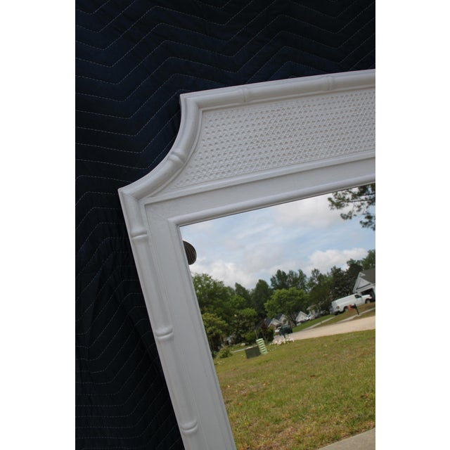 Thomasville Thomasville White Faux Bamboo Wall Mirror For Sale - Image 4 of 5