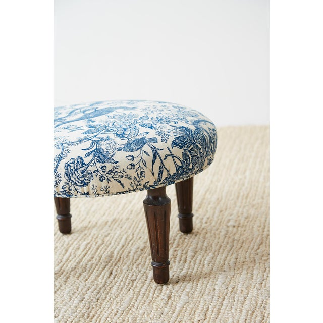 Blue Chinoiserie Upholstered Queen Anne Wingback With Ottoman For Sale - Image 8 of 13