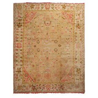 "Vintage Turkish Pink Floral Wool Rug-10'2'x12'5"" For Sale"
