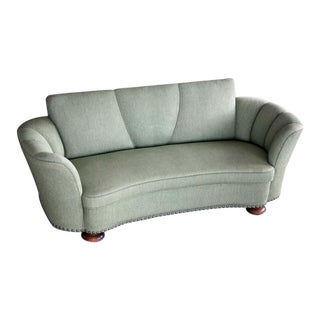 Danish 1940s Art Deco Banana Form Curved Sofa in the Style of Fritz Hansen For Sale