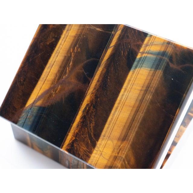 Stone Tiger's Eye Semi-Precious Stone Box For Sale - Image 7 of 8