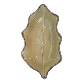 Vintage Golden Yellow Distressed Leaf Dish For Sale