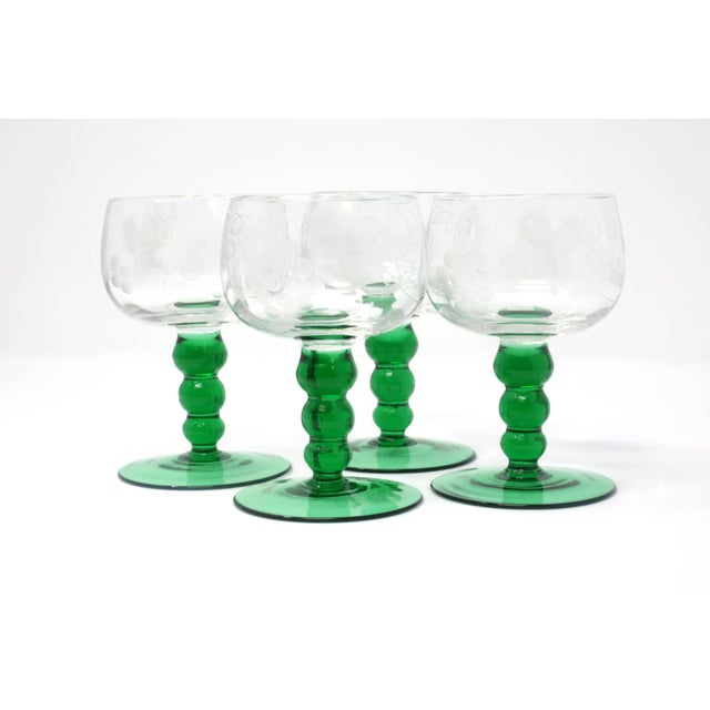 Mid-Century Cordial Glasses With Etched Grapes and Leaves - Set of 4 For Sale - Image 4 of 12