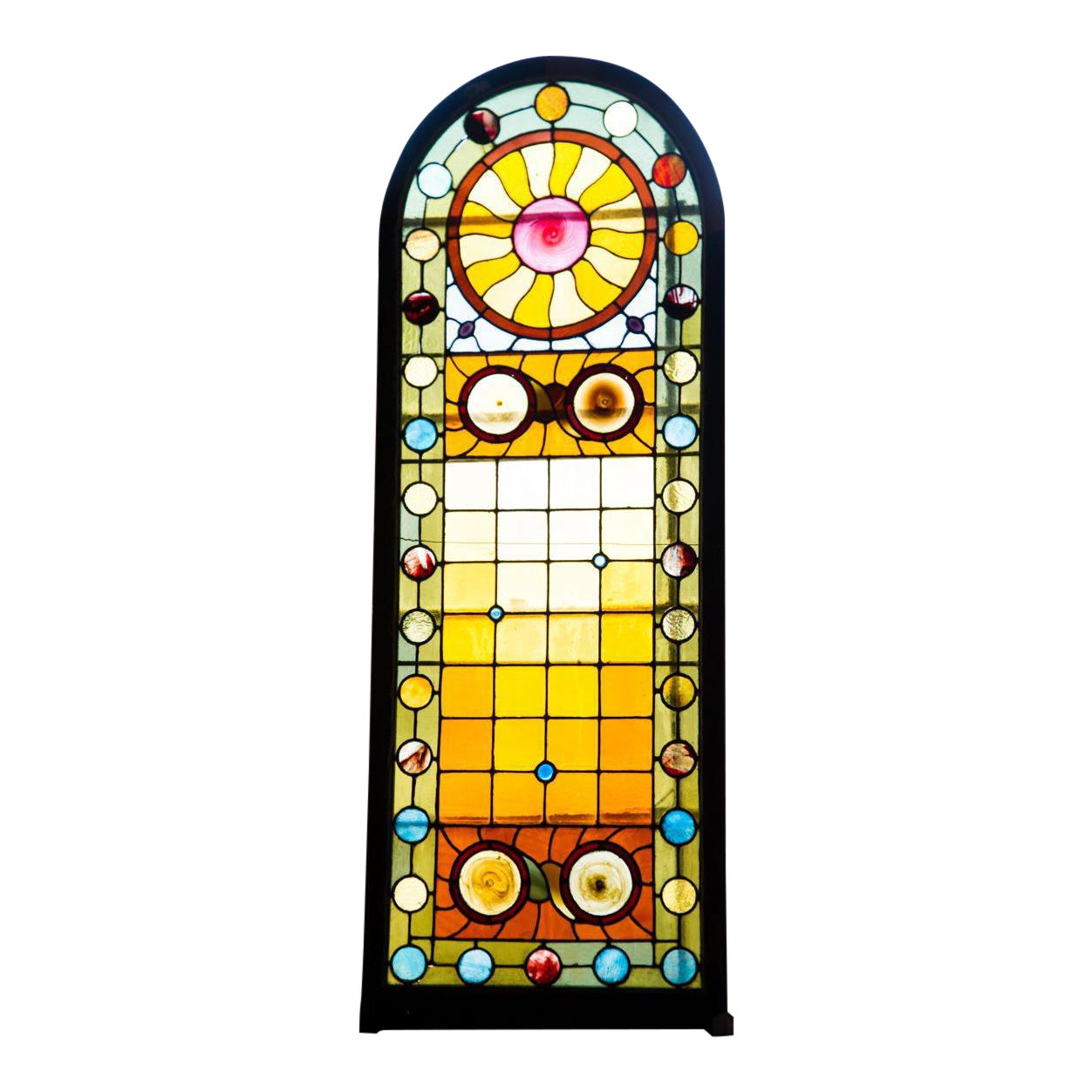 Late Victorian Stained Glass Arched Window | Chairish