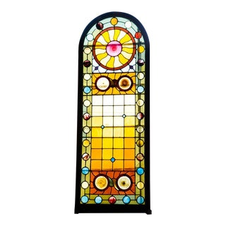 Late Victorian Stained Glass Arched Window For Sale