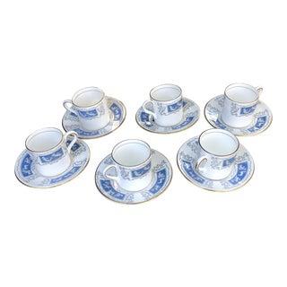 "Coalport Bone China England ""Revelry"" Blue Demitasse Cups Saucers - Set for 6 For Sale"
