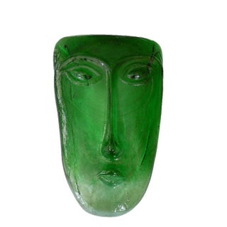 Green Poured Glass Face Sculpture