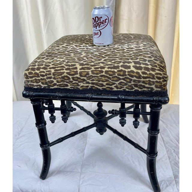 1950s 1950s Chippendale Style Faux Bamboo Ottoman For Sale - Image 5 of 8