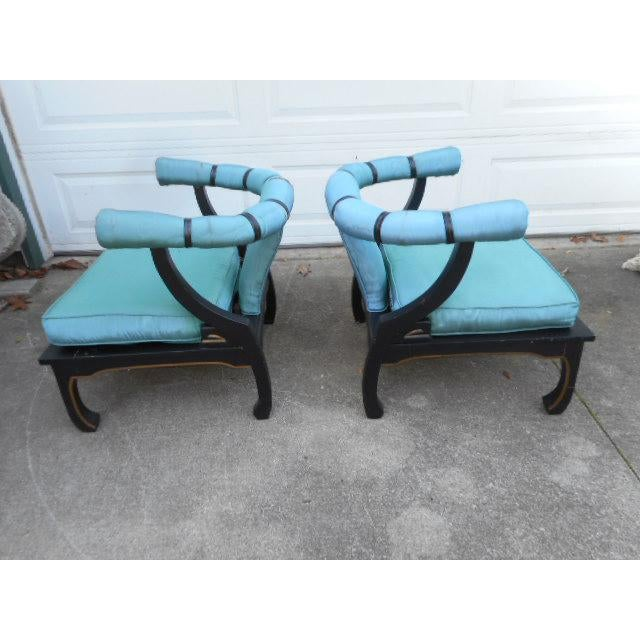 James Mont Ming Style Black Lacquer Chinese Lounge Chairs Curved Back Strap bottom Must be reupholstered BACK Leg joints...