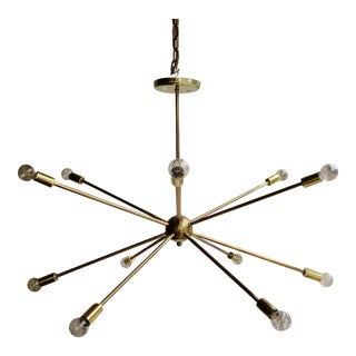 Mid-Century Modern Atomic Era Brass Sputnik Starburst Chandelier For Sale