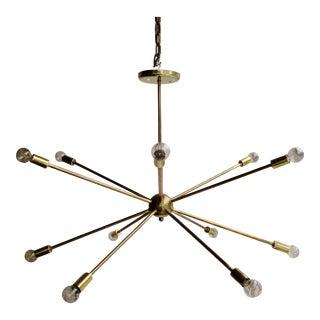 Mid-Century Modern Atomic Era Brass Sputnik Starburst Chandelier For Sale