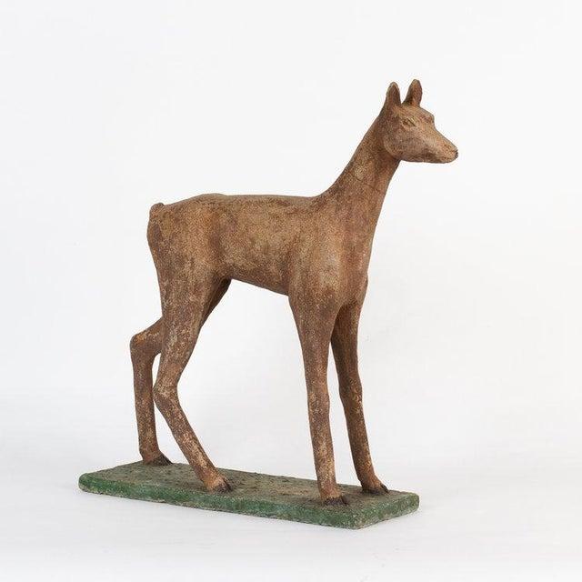 Folk Art 1940s Vintage Concrete Garden Deer Statue For Sale - Image 3 of 3