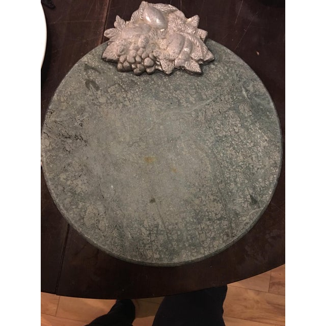 1970s Vintage Metal Fruit Decor Green Granite Stone Cheese Plate For Sale - Image 5 of 5