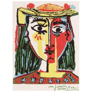 "Vintage ""Femme Au Chapeau"" After Pablo Picasso Rug - 3′ × 4′ For Sale"