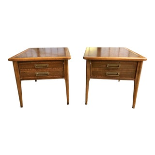 Mid-Century Modern Lane Cameo Nightstands Side Tables End Tables With Drawers - Pair