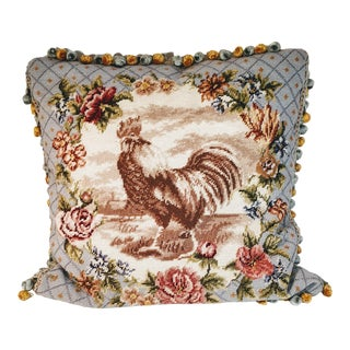 Vintage Rooster Needlepoint Pillow with Floral Roses Velvet Tassels For Sale