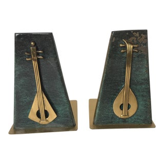 Mid-Century Modern Mandolins Brass Book Ends - a Pair For Sale