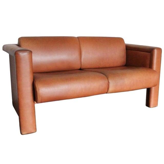 Tan 1980s Trix & Robert Haussmann for Knoll Tan Brown Saddle 2-Seat Sofa For Sale - Image 8 of 8