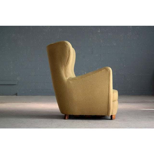 Beech 1940s Fritz Hansen Attributed Model 1672 Variant High Back Lounge Chair For Sale - Image 7 of 11