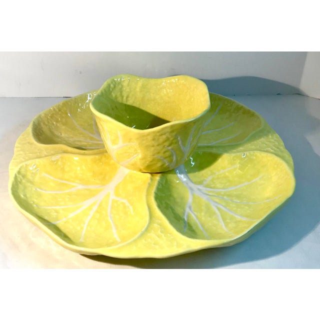 """Love this yellow cabbage set! Use for veggies, fruit, or chips and dip. Bowl measures 5.625"""" x 5.625"""" x 3.25"""". Platter..."""