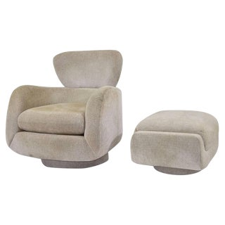 Vladimir Kagan Style Lounge Chair and Ottoman by Directional