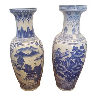 Extra Large Vintage Chinoiserie Blue and White Porcelain Vases - a Pair