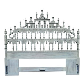1960s Vintage Carved Spindle Spanish Revival King Headboard For Sale
