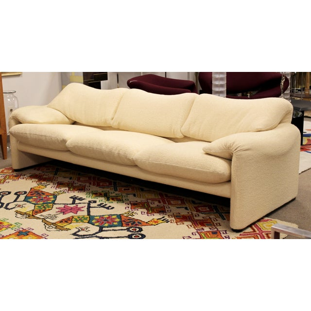 For your consideration is a fabulously sculptural, Maralunga white sofa, by Magistretti for Cassina, imported and...