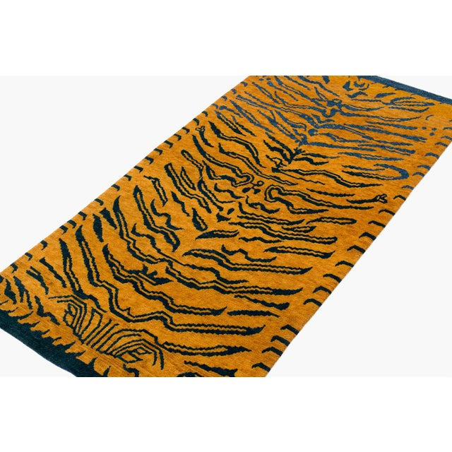 Textile Indigo Blue and Gold Wool Tiger Rug-3′ × 6′ For Sale - Image 7 of 8