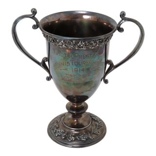Hotel Preston Tennis Tournament Silverplated Trophy Cup Circa 1914 For Sale