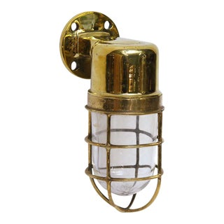 Flat Top Brass Ship Sconce For Sale