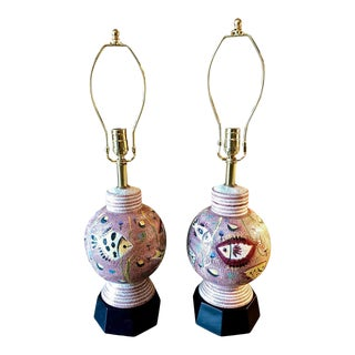 """Italian Mid-Century """"Fish"""" Lamps, Attributed to Fantoni - A Pair For Sale"""