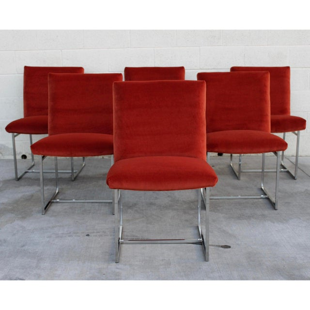 Mid Century Modern Milo Baughman for Thayer Coggin Rust Persimmon Dining Chairs-Set of 6 For Sale - Image 10 of 10