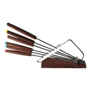 Mid-Century Teak Fondue Forks with Holder - Set of 7