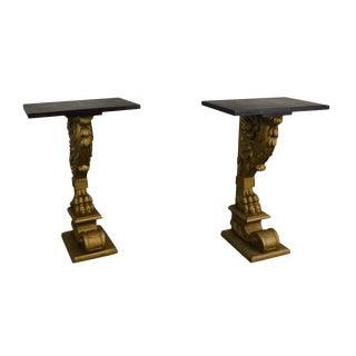 Renaissance Revival Antique Pair Carved Oak Lions Foot Gilt Carved Stands For Sale