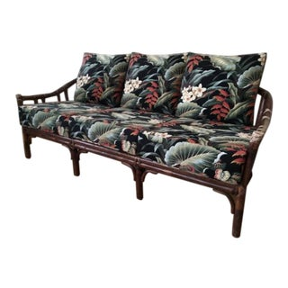 Vintage McGuire Rattan Sofa With Hawaiian Style Barkcloth Floral Cushions For Sale
